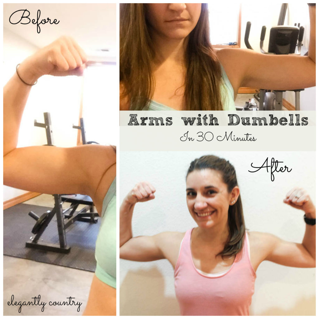 arms with dumbbells