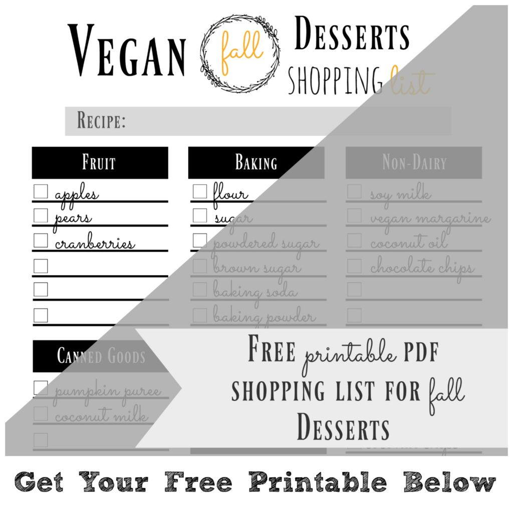 vegan dessert shopping list
