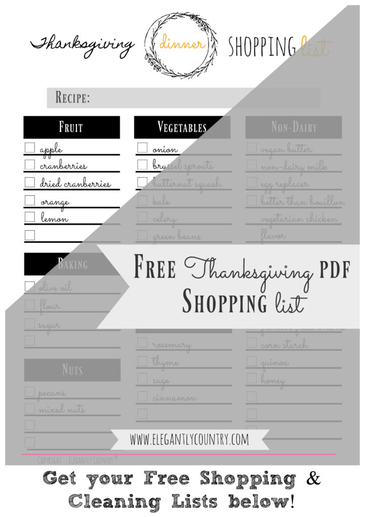 thanksgiving shopping list