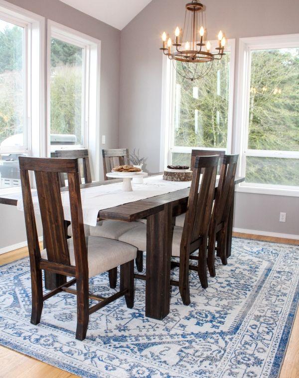 farmhouse dining room blue rug