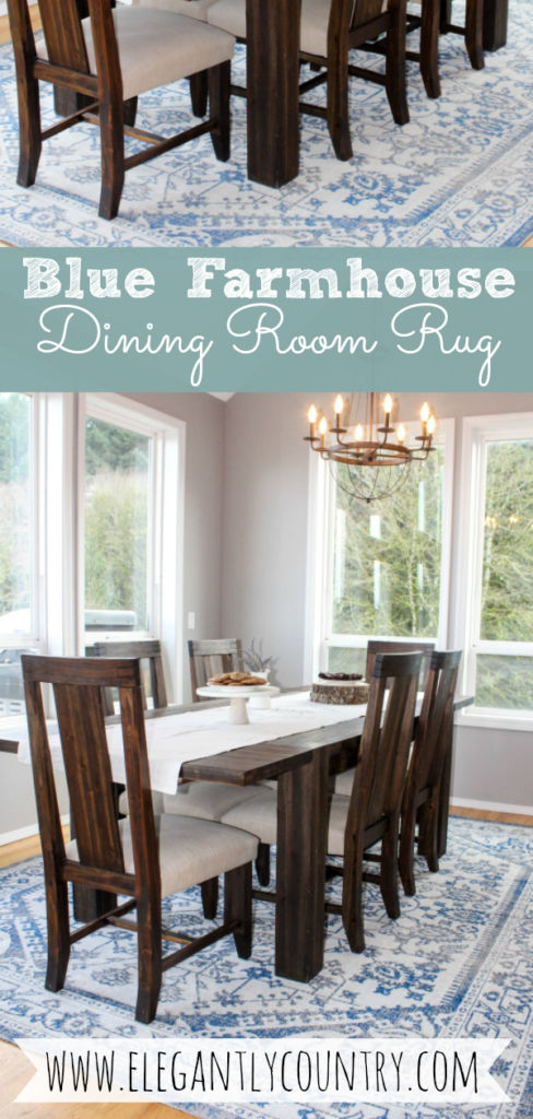 Farmhouse Dining Room Blue Rug
